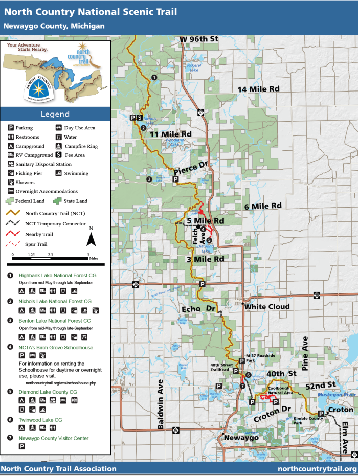 Map and visitor facilities - North Country National Scenic Trail, Newaygo County